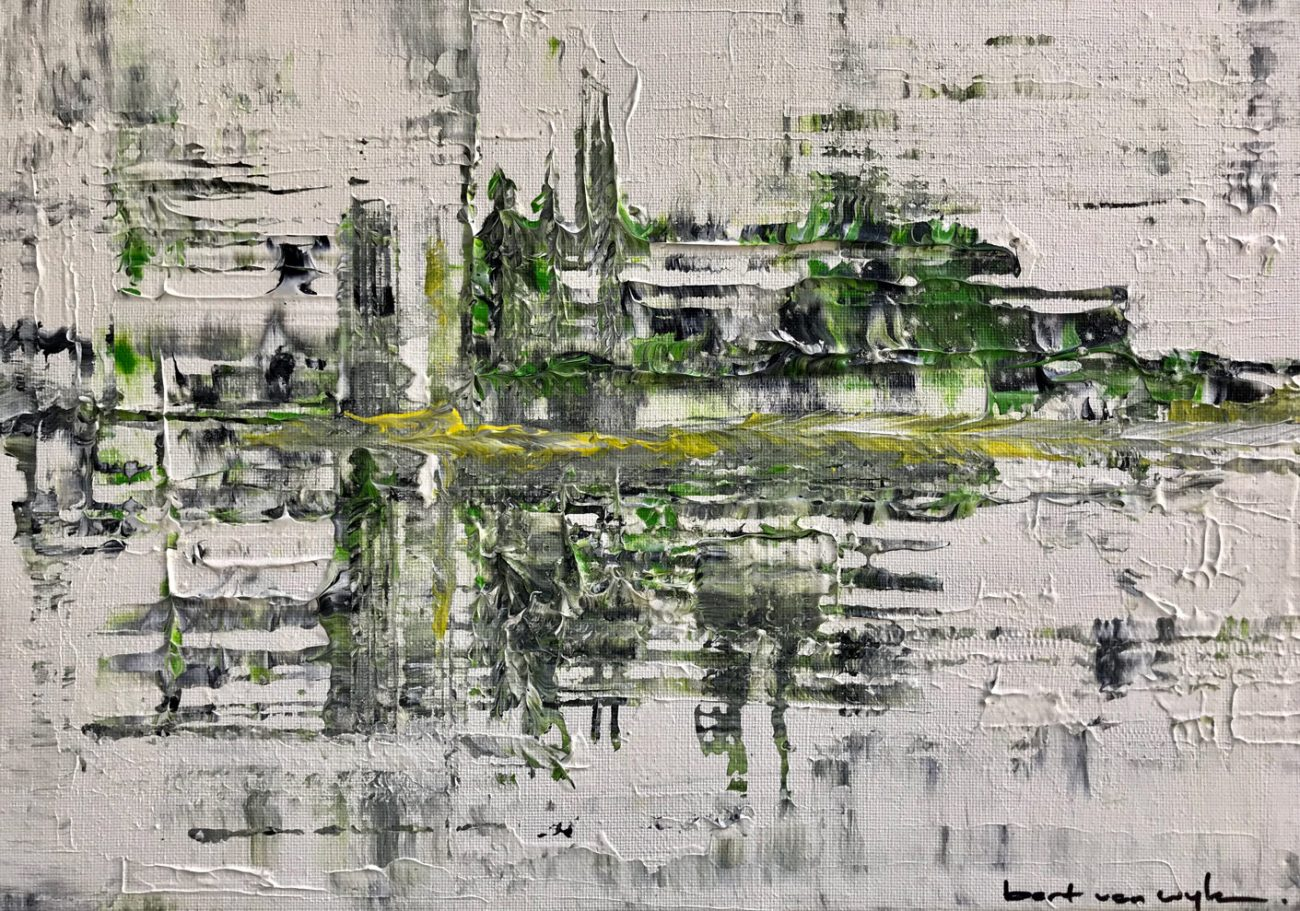 Titel: White Green Yellow - 30 x 40 cm Acryl ip canvas 450 euro