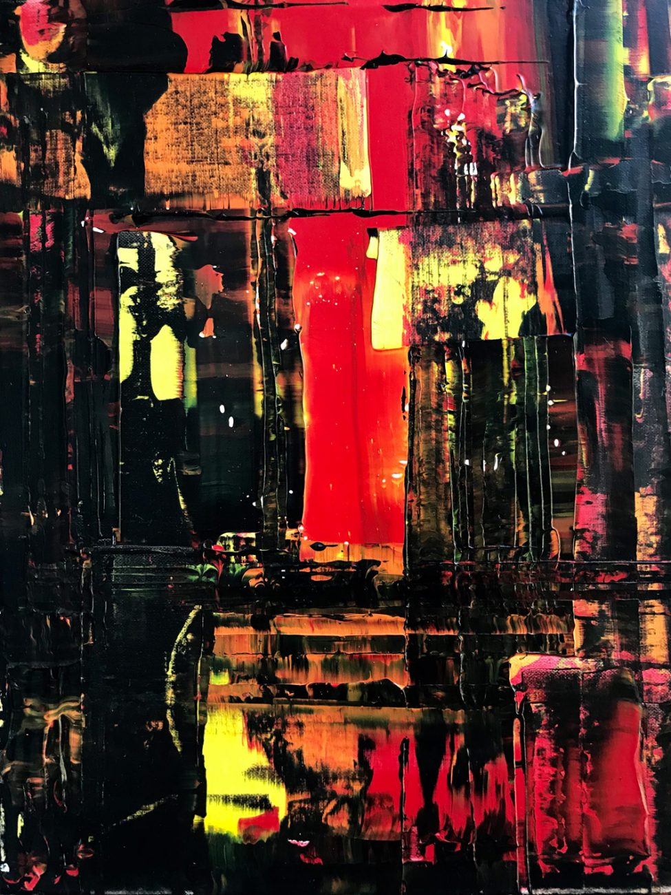 Titel: Black Red Yellow - 30 x 40 cm Acryl op canvas 450 euro