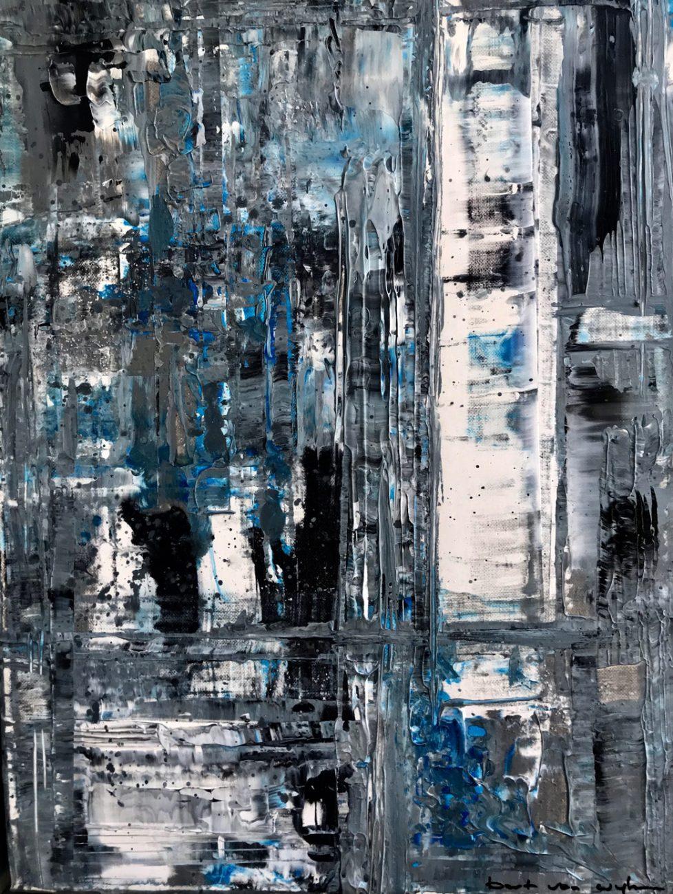 Titel: Black Blue White - 30 x 40 cm Acryl op canvas 450 euro